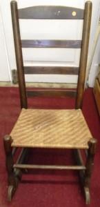 Oak nursing rocker with split cane seat