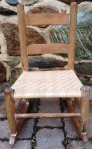 Child's rocking chair restored with new herringbone woven seat